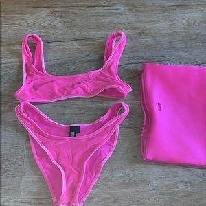 Triangl velvet hot pink swimsuit